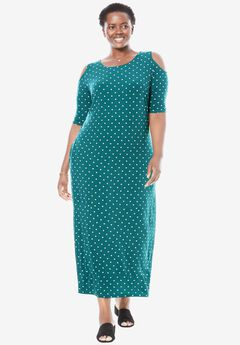 Cold-shoulder A-line maxi dress, TROPICAL TEAL DOT, hi-res