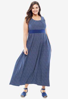 Banded Waist Polka Dot Maxi Dress,