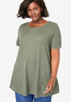Washed Thermal Trapeze Tunic,