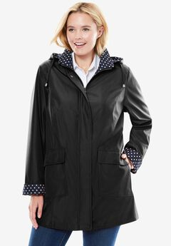 Raincoat in new short length with fun dot trim, BLACK, hi-res