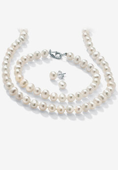 Silver Necklace, Bracelet and Earring Set Cultured Freshwater Pearl,