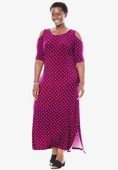 Cold-shoulder A-line maxi dress, RUBY BERRY DOT, hi-res