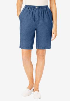 Elastic-Waist Cotton Short, MEDIUM STONEWASH