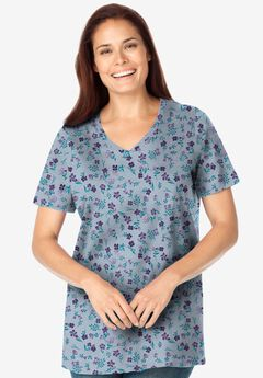 Perfect Printed Short-Sleeve V-Neck Tee, HEATHER GREY PRETTY FLORAL
