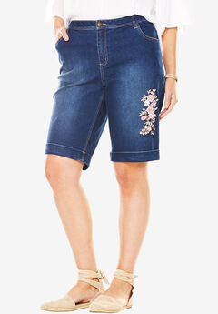 Stretch Jean Bermuda Short, FLOWER EMBROIDERY