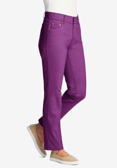 Straight Leg Tummy Tamer Jean, PURPLE MAGENTA