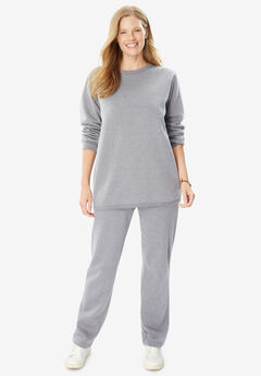 Fleece Sweatsuit, HEATHER GREY
