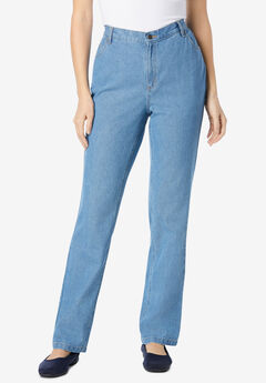Back-Elastic Straight Leg Cotton Jean, LIGHT STONEWASH