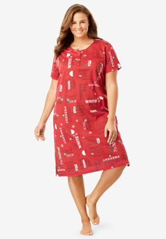 Short-Sleeve Henley Sleepshirt by Dreams & Co.®, CLASSIC RED MISTLETOE