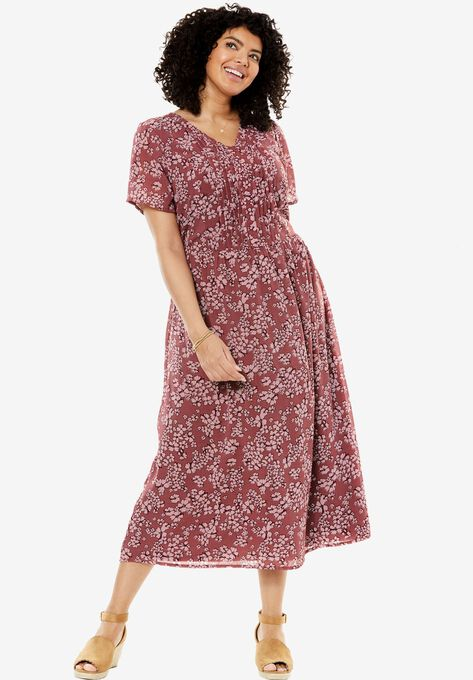 Printed Pintuck Dress