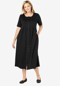 Button-Front Essential Dress, BLACK