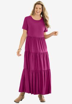 Short-Sleeve Tiered Dress,