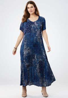 Crinkle Dress, NAVY PATCHWORK