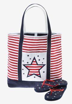 Patriotic tote & flip flops, AMERICANA STARS, hi-res