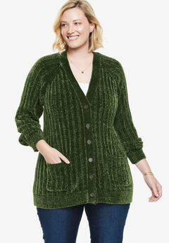 Long Chenille Button-Front Cardigan,