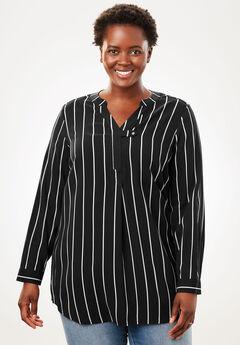 Tab-Front Long Sleeve Shirt, BLACK WHITE PENCIL STRIPE