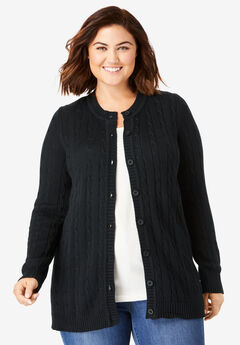 Cable cardigan, BLACK