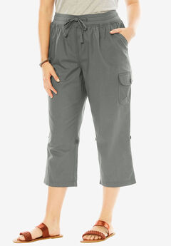 Convertible-Length Cotton Cargo Capri Pants, OLIVE GREY