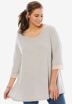 Crochet sleeve tunic, HEATHER GREY