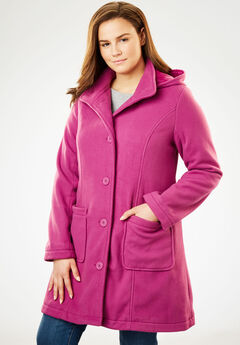 Hooded A-Line Fleece Jacket,