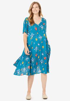 Short Crinkle Dress, DEEP TEAL SPACED FLORAL