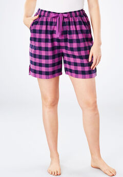 Flannel pajama shorts by Dreams & Co.®, FRESH BERRY PLAID, hi-res