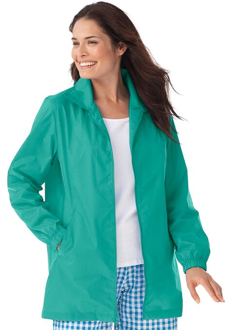 Zip Front Nylon Jacket Plus Size Outerwear Woman Within
