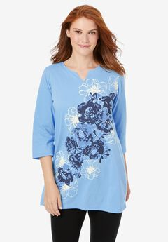 Notch-Neck Tunic With Three-Quarter Sleeves,