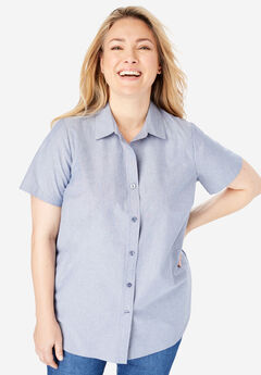 Perfect Short Sleeve Button Down Shirt, CHAMBRAY