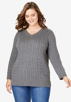 Cable Knit V-Neck Pullover Sweater, MEDIUM HEATHER GREY