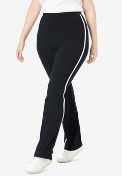 Stretch Cotton Side-Stripe Bootcut Yoga Pant,