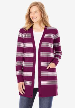 The Cotton Perfect Boyfriend Cardigan, DEEP CLARET STRIPE