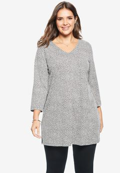 Perfect V-Neck Three-Quarter Sleeve Tunic, MEDIUM HEATHER GREY MINI DOT