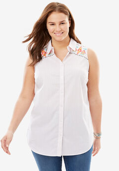 Perfect Sleeveless Button Down Shirt,