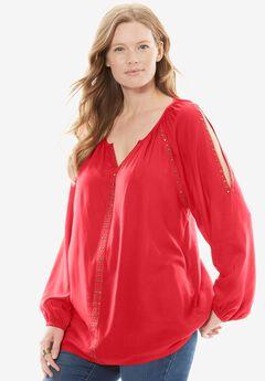Studded Cold-Shoulder Blouse, CORAL RED, hi-res