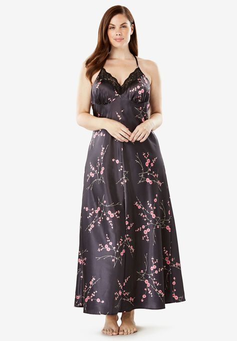 Print Lace-Trim Satin Nightgown by Amoureuse® | Plus Size Sleep ...
