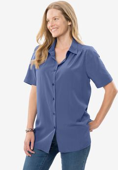 Peached Short Sleeve Button Down, DARK BLUE, hi-res