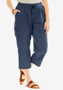 Convertible-Length Cotton Cargo Capri Pants, NAVY, hi-res