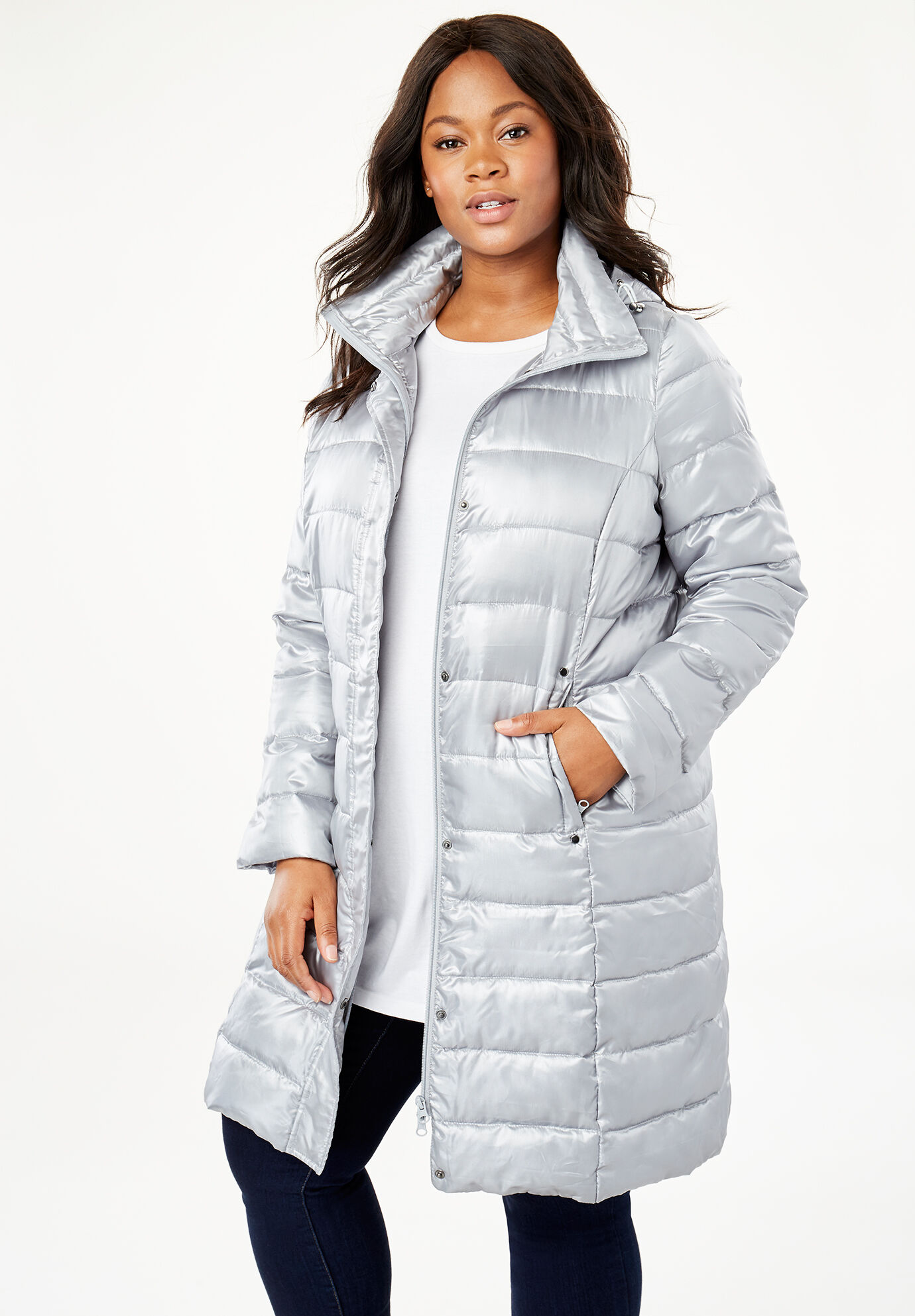a1e4187fee4 Women Woman Within Plus Size Packable Long Puffer Jacket