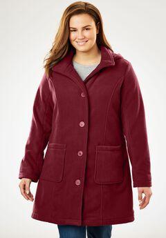 Hooded A-Line Fleece Jacket,