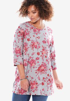 Perfect Printed Three-Quarter Sleeve Tunic, HEATHER GREY BOUQUET