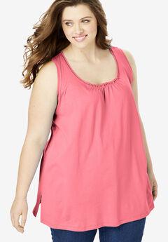 Perfect Shirred U-Neck Sleeveless Tunic, TEA ROSE
