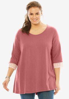 Crochet sleeve tunic, STRAWBERRY ROSE