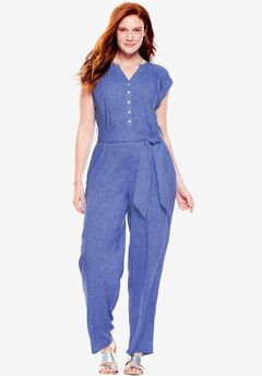 Henley Jumpsuit, BLUE SPRINKLE, hi-res