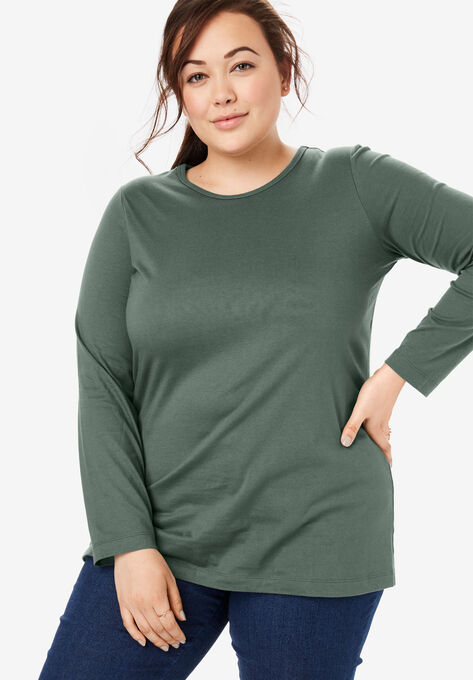 cdfc8d27 Perfect Crewneck Long Sleeve Tee| Plus Size T-Shirts | Woman Within