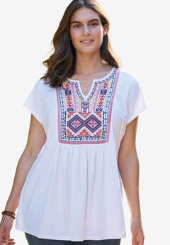 Cap Sleeve Embroidered-Bib Tee,