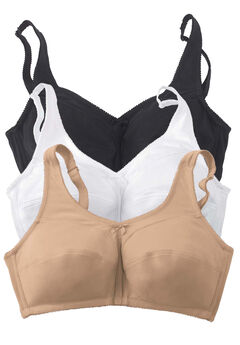 3-Pack Cotton Wireless Bra , BASIC ASSORTED