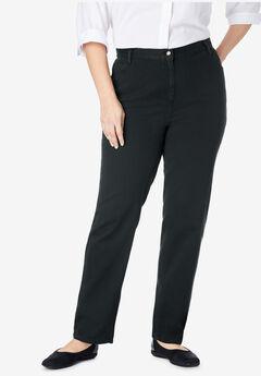 Back-Elastic Straight Leg Cotton Jean, BLACK