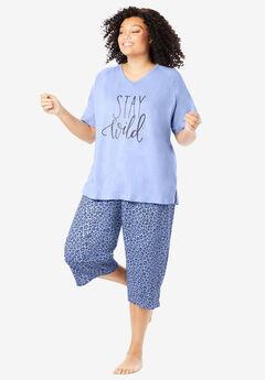 Knit Capri PJ Set by Dreams & Co®, PLUM BLUE LEOPARD