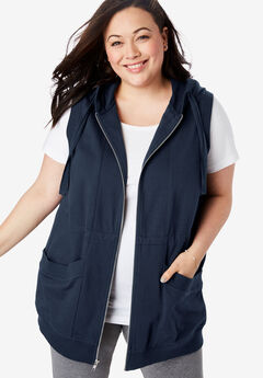 Zip-Front Hooded Tunic Vest,